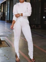Compression White Long Sleeves Sweat Suit Ankle Zipper Athletic Comfort