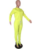 Fresh Yellow Solid Color Full Length Sweat Suit Sport Series