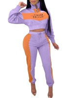 Holiday Purple Drawstring Patchwork Sweat Suit Zipper For Fitness