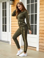 Slimming Fit Army Green Sequin Patchwork Sweat Suit Zipper