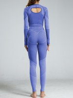 Spectacular Blue Hollow Out Sports Suits Full Length Best Design