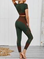 Contouring Green Hollow Out High Rise Crop Sports Suit Stretchy