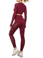Ultra-Skinny Wine Red Mesh Sweat Suit High Waist Full Length