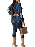 Charming Blue Balloon Sleeves Sweatsuit High Rise Superior Quality