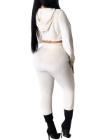 Stylish White Sequin Hooded Running Suit Drawstring Unique