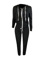 Running Black Drawstring Hooded Pockets Athletic Suit For Women