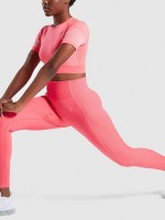 Zealous Pink Yoga Suit Crop High Waist Short Sleeves Women's Fashion