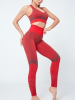 Curvy Red Seamless Tank Top High Waist Legging Stretchy Material
