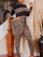 Essential Black Leopard Colorblock Full Length Sweatsuit High Elasticity