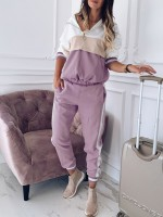 Bewitching Purple Large Size Zip Sweat Suit Patchwork Stretchy