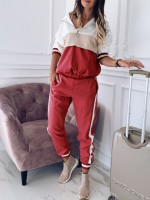 Well-Suited Red Hooded Neck Sweatsuit Big Size Zipper Young Style