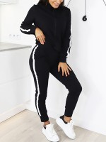 Cozy Black Long Sleeves High Collar Sports Suit Tight Elastic