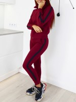 Sophisticated Red Zip Full-Length Sweat Suit Patchwork Sportswear