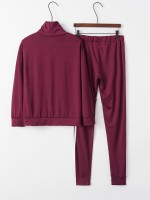 Delicate Purple Cowl Neck Big Size Letter Sport Suit Fitness