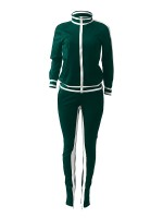Fad Blackish Green Hollow Out Zipper Sports Two-Piece Workout Clothes
