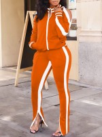 Flirtatious Orange Shoulder Cutout Pockets Sweat Suit Trendy Style
