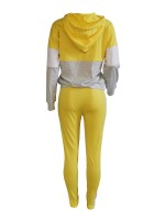 Sleek Yellow Hooded Tracksuit Patchwork Full-Length For Women