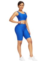Stretchy Blue Sweat Suit With Pocket Wide Waistband Exercise