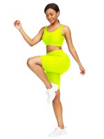 Lavish Yellow Scoop Neck Training Suits High Waist Young Style