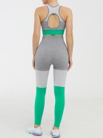 Bewitching Green Contrast Color Sports Suit Seamless Soft-Touch