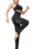 Honeymoon Black Seamless Yoga Sets Hollow Out For Exercising