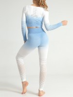 Wonderful Blue Seamless Sports Suit Mesh Long Sleeves Soft-Touch