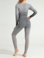 Abstract Gray Mesh Seamless Sports Suit Full Sleeves Leisure