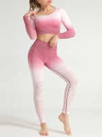 Picturesque Rose Red Round Neck Crop Yoga Suit Ankle Length