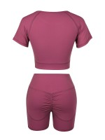 Slimming Rose Red Sports Suit Short Sleeve Side Pocket For Training