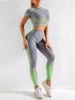 Exquisite Green Crop Top Seamless High Waist Pants Athletic Apparel
