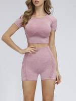 Supportive Pink Round Collar Yoga Suit High Waist Quick Drying