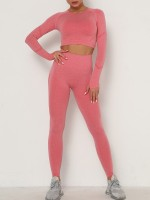 Stylish Watermelon Red Seamless Thumbhole Yoga Suit Full Length Stretchy