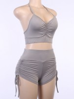 Incredibly Gray Racerback Sports Suit Wide Waistband High Elastic