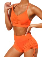 Contouring Orange Slender Strap Bra High Rise Shorts Forward Women