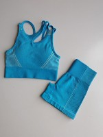 Super Cool Blue Running Suit Patchwork Strap Seamless Simplicity