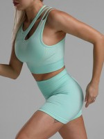 Cheeky Green Seamless Cropped Athletic Suit Cut Out Quality Assured