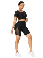 Elasticity Black Crew Neck Sheer Mesh Running Suit Athletic Apparel
