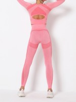 Liberty Trendy Pink Thumbhole Crew Neck Sports Suit Seamless Versatile Item