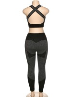 High Elastic Black Seamless Yoga Suit Cross Hollow Back Casual