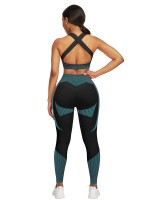 Spectacular Lake Blue Cross Back Sports Suit Full Length Fashion