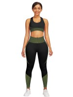 Scintillating Green Seamless Contrast Color Athletic Suit Kinetic Fashion