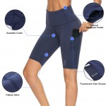 Navy Blue Mesh Patchwork Pocket Bottom High Waist Training Apparel