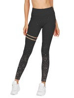 Exquisitely Black Stripe Hot Stamping High Rise Sport Bottoms Elasticity