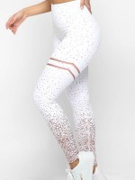 High Rise White Elastic Sport Pants Hot Stamping Running Clothes