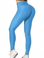 Slim Legs Blue Full Length Yoga Leggings High Waist For Woman