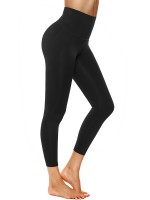 Distinctive Black Elastic Plain Yoga Leggings High Rise For Workout