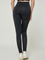 Funny Black Wide Waistband Mesh Yoga Leggings Natural Outfit