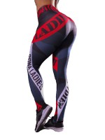 Supportive Red Letter Paint Yoga Legging Full Length For Running