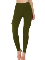 Skinny Green Ankle Length Yoga Pants With Pockets Feminine Elegance