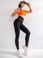 Slimming Black Sport Leggings Seamless High Rise Luscious Curvy